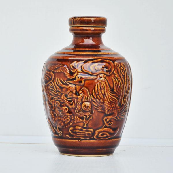 龙凤纹定制陶瓷酒瓶