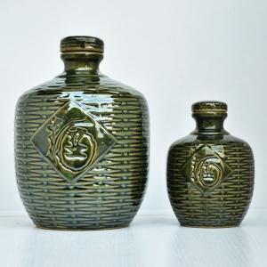 高档西绿釉竹编瓶
