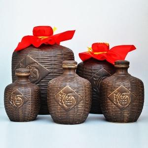 通用仿古竹编制陶瓷酒瓶